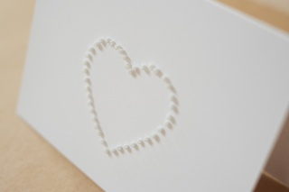 Landscape, hand-sewn white beads wedding invitation. Available also in pearlescent beads option.