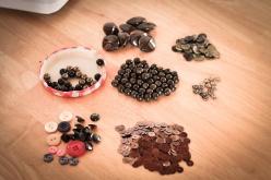 Buttons, sequins, wooden & plastic beads, metal little hearts....